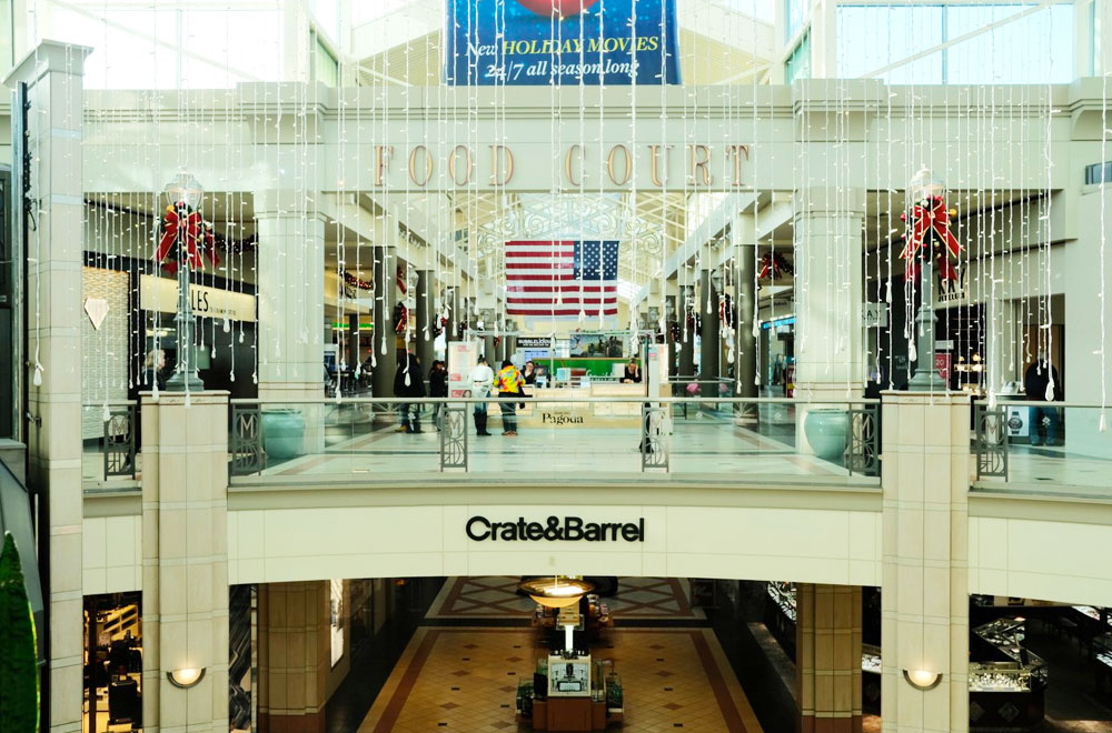Crate & barrel and food court in mayfair mall