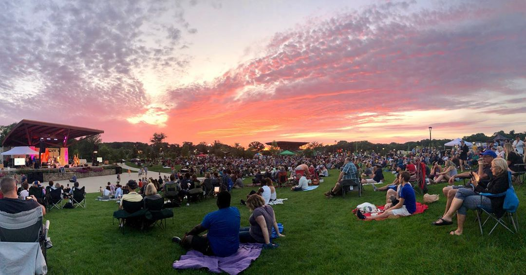 Wauwatosa's Tosa Tonight sunset with live music on the stage and sunset in the background
